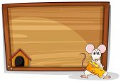 Illustration of a mouse holding cheese in front of a board