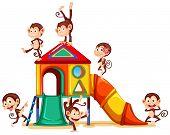 Illustration of many monkeys having fun on a slide
