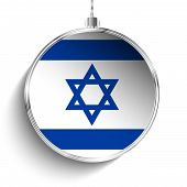 Merry Christmas Silver Ball With Flag Israel