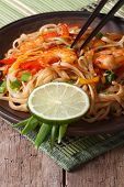 Asian Food: Rice Noodles With Shrimp And Vegetables  Vertical