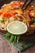 Delicious Rice Noodles With Shrimp And Vegetables Vertical
