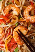 Rice Noodles With Shrimp Macro Vertical View From Above