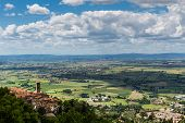 Panorama Of The City Of Cortona And Val Chianina, Tuscany - Italy