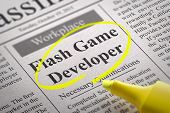 Flash Game Developer Vacancy in Newspaper.