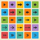 Vector black set of different vector arrows