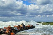 Baltic Sea And Breakwater