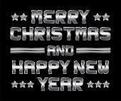 Merry Christmas And Happy New Year, Metal Greeting, Black Background