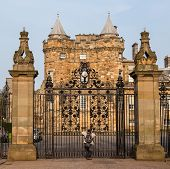 Entrance Gates To The Palace Of Holyroodhouse In Edinburgh, Scotland