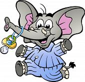 Hand-drawn Vector Illustration Of An Happy Baby Boy Elephant In Pajamas Holding A Pacifier