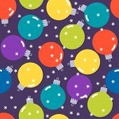 Holiday Pattern Background With Christmas Balls And Snowflakes