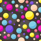 Vector Seamless Cosmic Pattern Background With Funny Drawing Bright Planets In Open Space