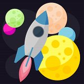 Bright Colored Vector Space Background With Colorful Planets And Spaceships