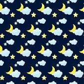 picture of inference  - vector seamless pattern background with bright colored cartoon moon clouds and stars on the dark cover - JPG