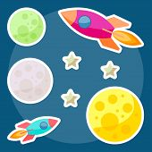 Cosmic Background With Bright Colored Planets And Spaceships In Open Space