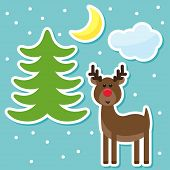 Winter Holidays Set With Funny Cartoon Deer