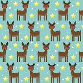 Bright Pattern Background With Funny Cartoon Deer From Sledding Santa Claus, Drawing Snowflakes And