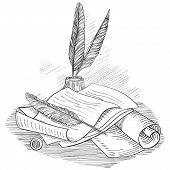 Paper with  inkwell and feather