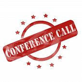 Red Weathered Conference Call Stamp Circle And Stars Design
