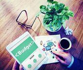 Digital Online Budget Finance Bookkeeping Office Working Concept