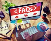 Digital Online FAQs Community Office Working Concept