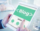 Digital Online Social Media Blog Working Concept