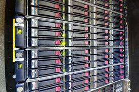 picture of supercomputer  - detail of modern hi tech data server in network center - JPG