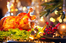 picture of christmas dinner  - Christmas table setting with turkey - JPG