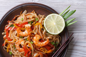 picture of shrimp  - Asian rice noodles with shrimp and vegetables close - JPG
