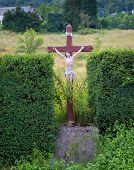pic of naturel  - Roadside statue of Jezus with the letter INRI in Espies in France - JPG