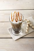 stock photo of frappe  - iced coffee with milk and caramel ice cream - JPG