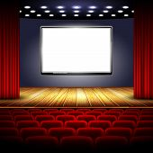 picture of soffit  - auditorium cinema system with screen stage and red curtain - JPG