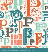 pic of letter p  - Seamless vintage pattern of the letter in P retro colors - JPG