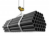picture of hook  - Crane hook lifting of steel pipes isolated on white background - JPG