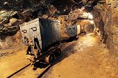 stock photo of cart  - Mining cart in silver gold copper mine - JPG
