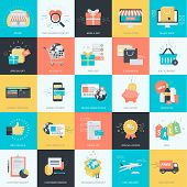 stock photo of e-business  - Set of flat design icons for graphic and website design - JPG