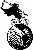 stock photo of wraith  - Woodcut styled image of a hooded wraith or death riding a bicycle around the earth - JPG