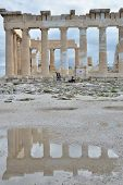 foto of parthenon  - The ruins of the Parthenon reflected in a puddle on the Acropolis - JPG