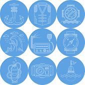 pic of nautical equipment  - Set of round blue vector icons with white line nautical objects end equipment for diving on white background - JPG