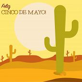 picture of mexican fiesta  - Desert Cinco De Mayo card in vector format - JPG