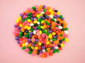 pic of jelly beans  - Frame and background made of colorful jelly beans - JPG