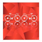 foto of tandem bicycle  - Bicycle on a red geometric background - JPG