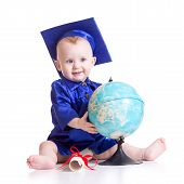 picture of pretty-boy  - Portrait of cute baby boy in student hat with globe and scroll - JPG