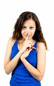 picture of silence  - Beautiful woman with silence sign isolated on white background - JPG