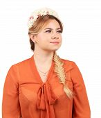 stock photo of braids  - Pretty girl with thick long braid - JPG