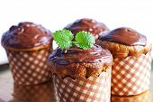 stock photo of chocolate muffin  - Muffin cakes with chocolate - JPG