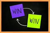 picture of win  - Motivational concept the words Win Win written with on colored sticky paper over blackboard - JPG