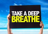 stock photo of breath taking  - Take a Deep Breathe card with beach background - JPG