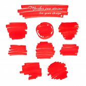 pic of marker pen  - Bright red marker pen spots and lines isolated on a white background for your design - JPG