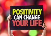 stock photo of feeling better  - Positivity Can Change Your Life card with bokeh background - JPG