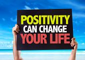 stock photo of feeling better  - Positivity Can Change Your Life card with beach background - JPG